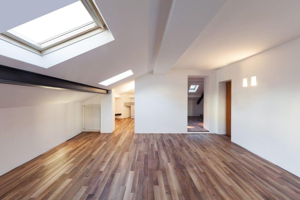 modern room with skylight windows