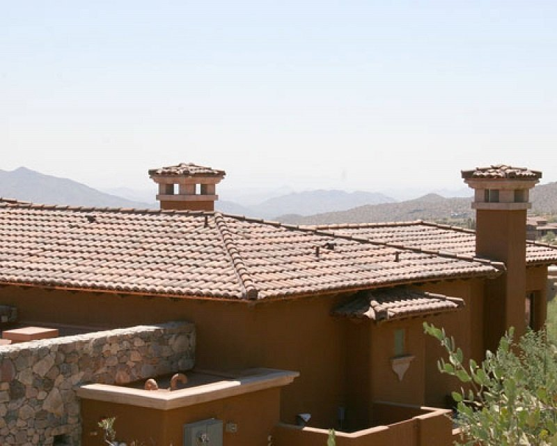 phoenix mountain home with tile roofing