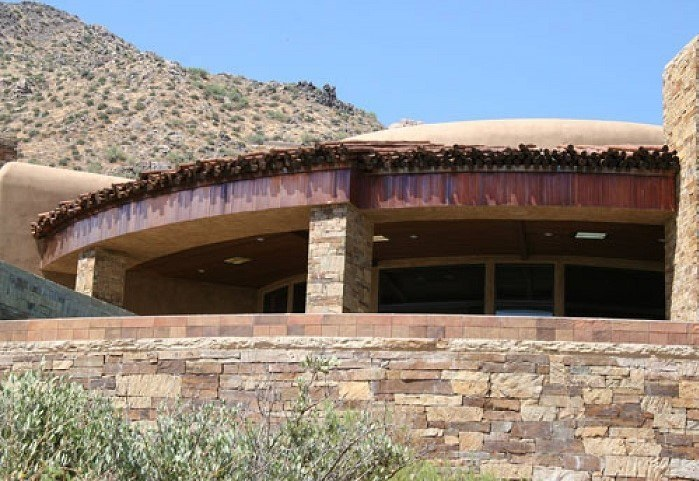 desert home structure with innovative roofing