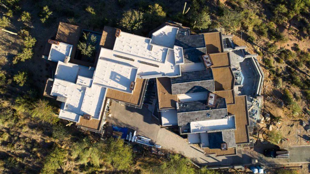 aerial flat roof on mansion phoenix