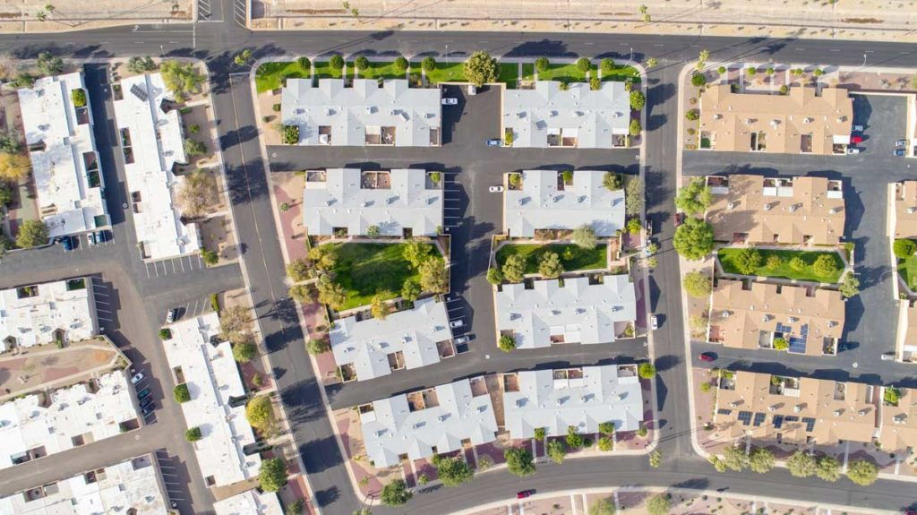 aerial roofing on housing complex phoenix