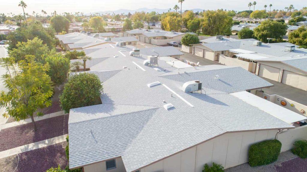 large-scale asphalt shingle roofing