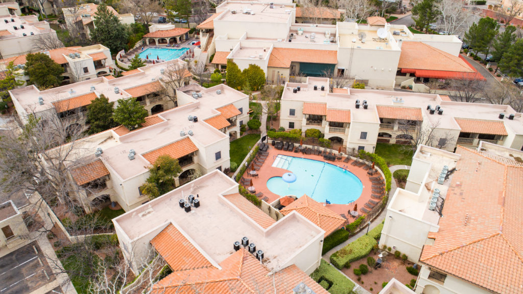 aerial resort with great concrete tile roofing