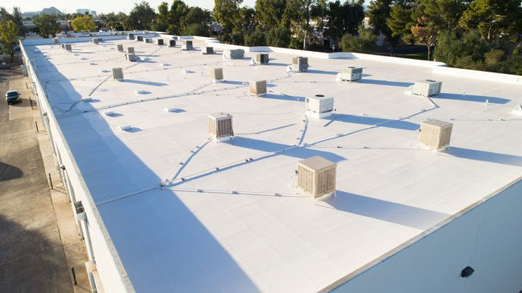 white commercial roofing