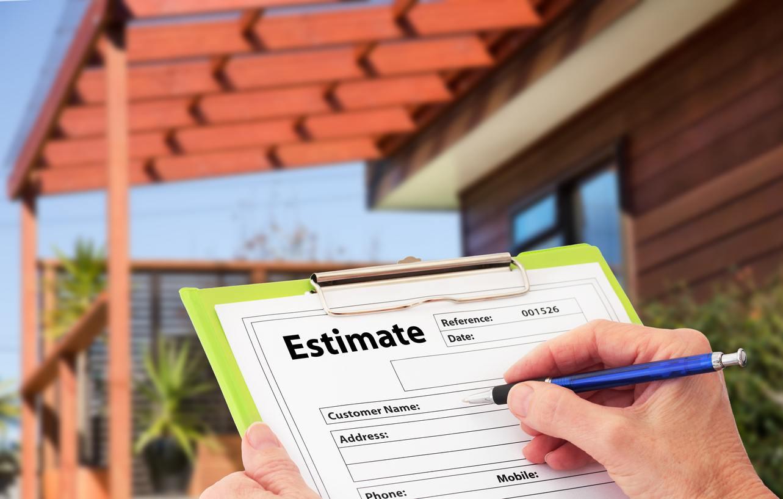 Clipboard holding an estimate.